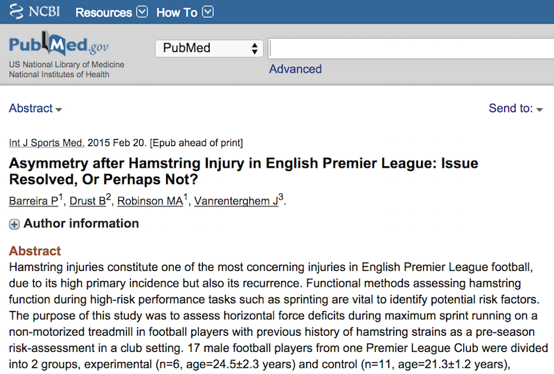 pubmed football medicine article screenshot