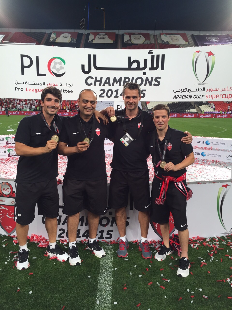 Al Ahli FC Medical Department physiotherapists and Doctor after the Arabian Gulf Supercup Award Ceremony