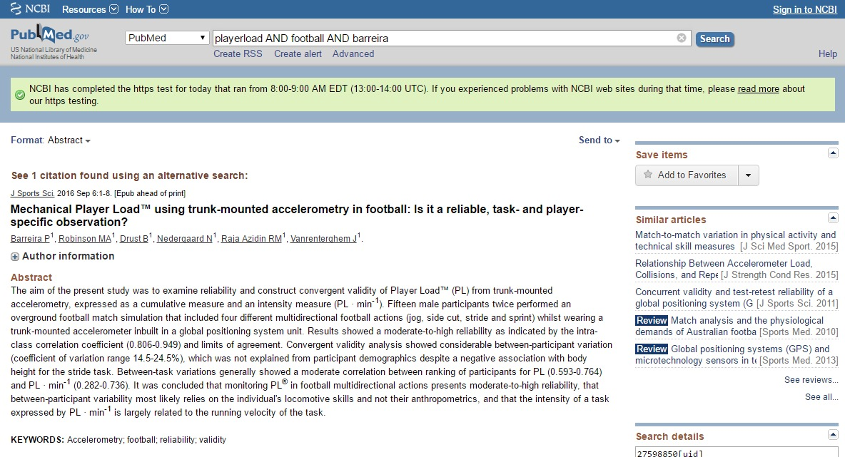 Mechanical PlayerLoadTM using trunk mounted accelerometry in Football: Is it a reliable, task- and player-specific observation?