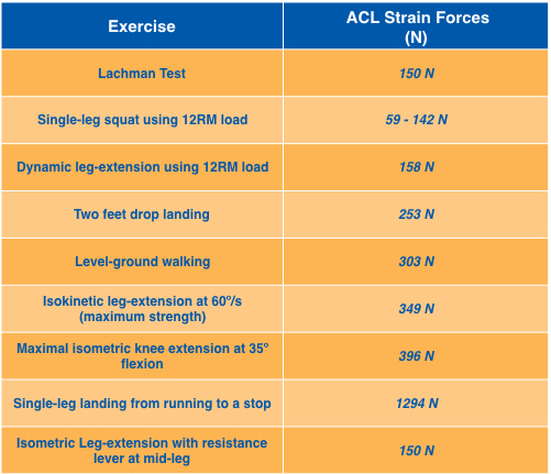 ACL strain forces produced by several knee dominant exercises